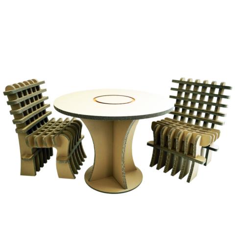 Meble z tektury, stół z tektury, krzesła z tektury